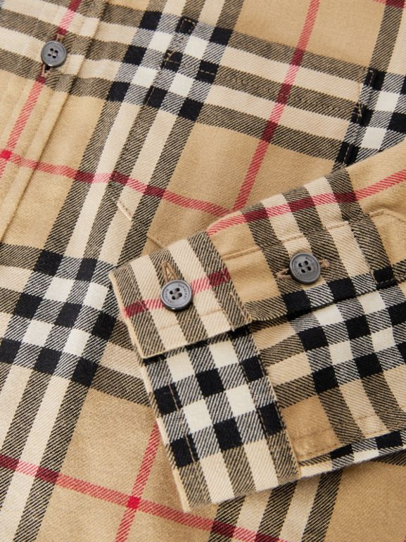 Vintage Check Cotton Flannel Shirt in Archive Beige | Burberry Australia - cell image 1