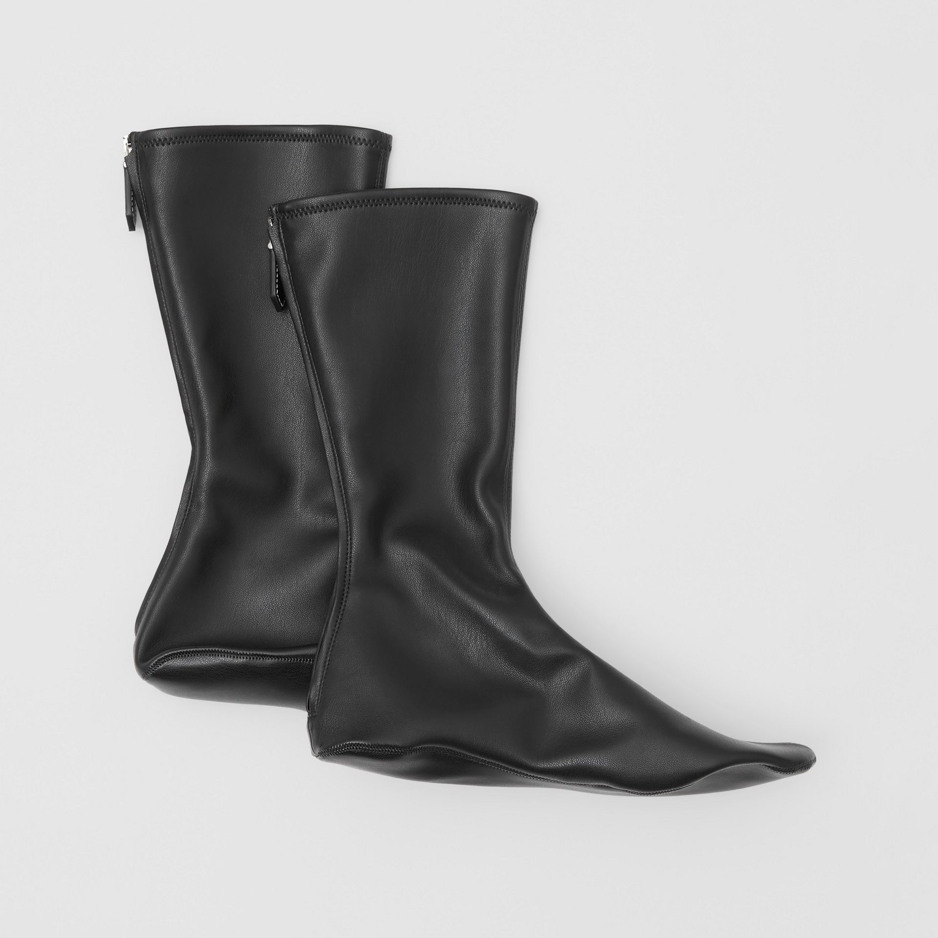 Faux Leather Mid-calf Socks in Black - Women | Burberry - gallery image 4
