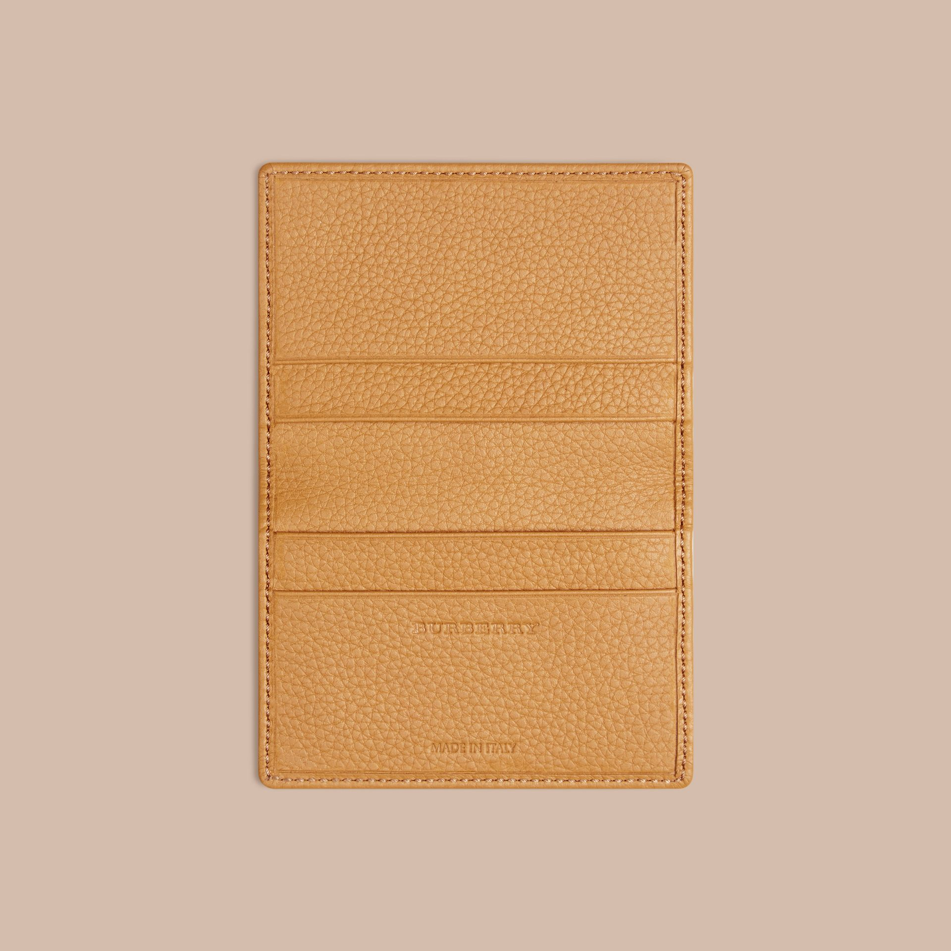 Grainy Leather Card Case in Ochre Yellow - gallery image 3