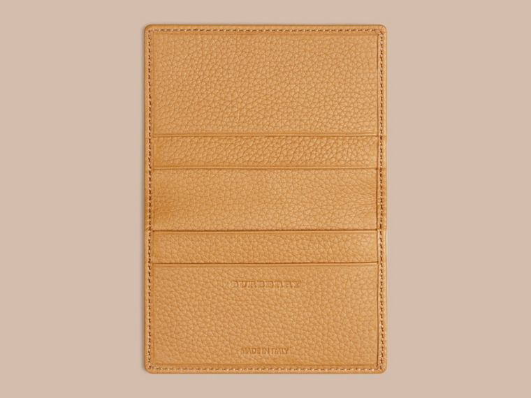 Grainy Leather Card Case Ochre Yellow - cell image 2