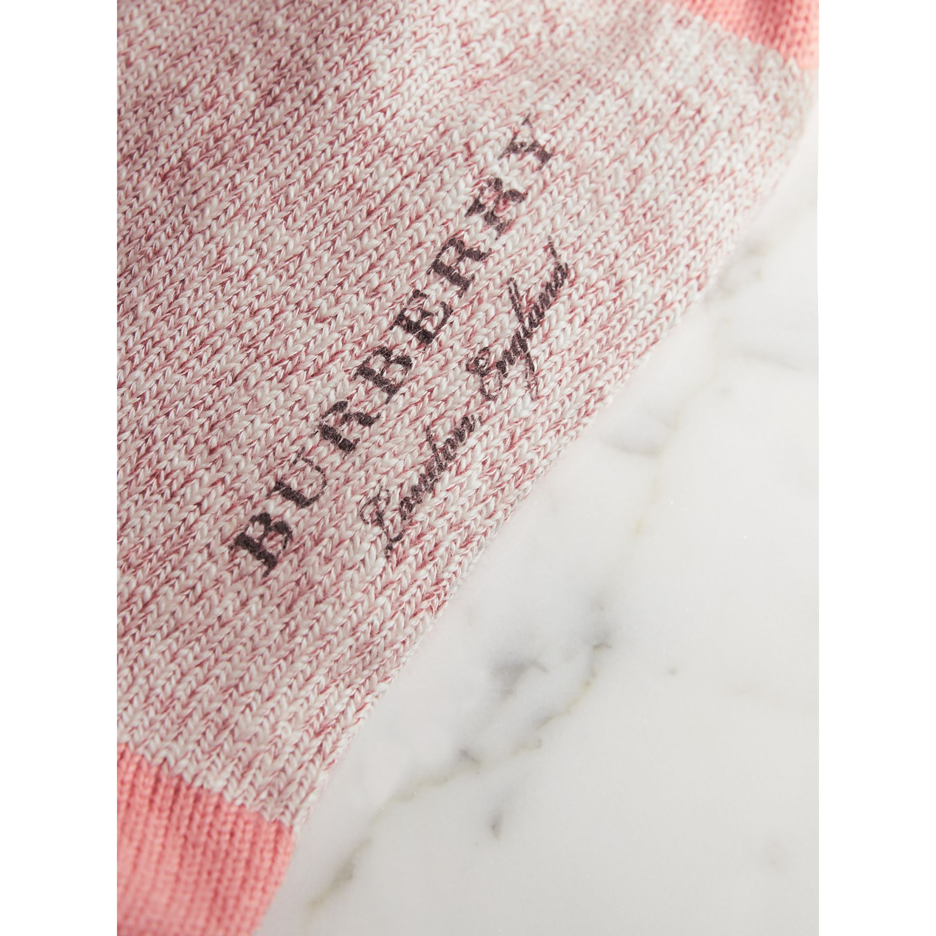 Diamond Knitted Cotton Mouliné Socks in Rose Pink | Burberry - gallery image 2