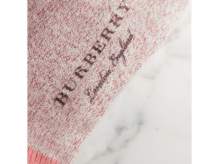 Diamond Knitted Cotton Mouliné Socks in Rose Pink | Burberry - cell image 1