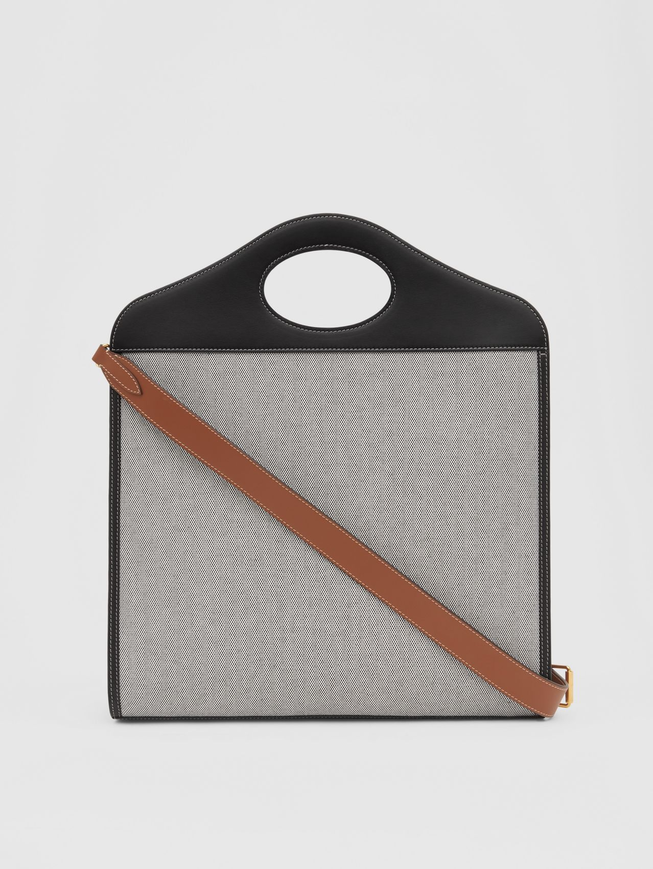 Medium Two-tone Canvas and Leather Pocket Bag in Black/tan