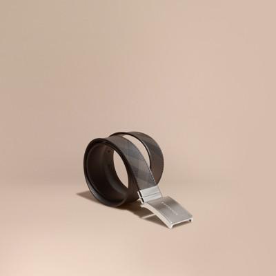 Burberry - Ceinture réversible en cuir avec plaque et motif Smoked check - 1