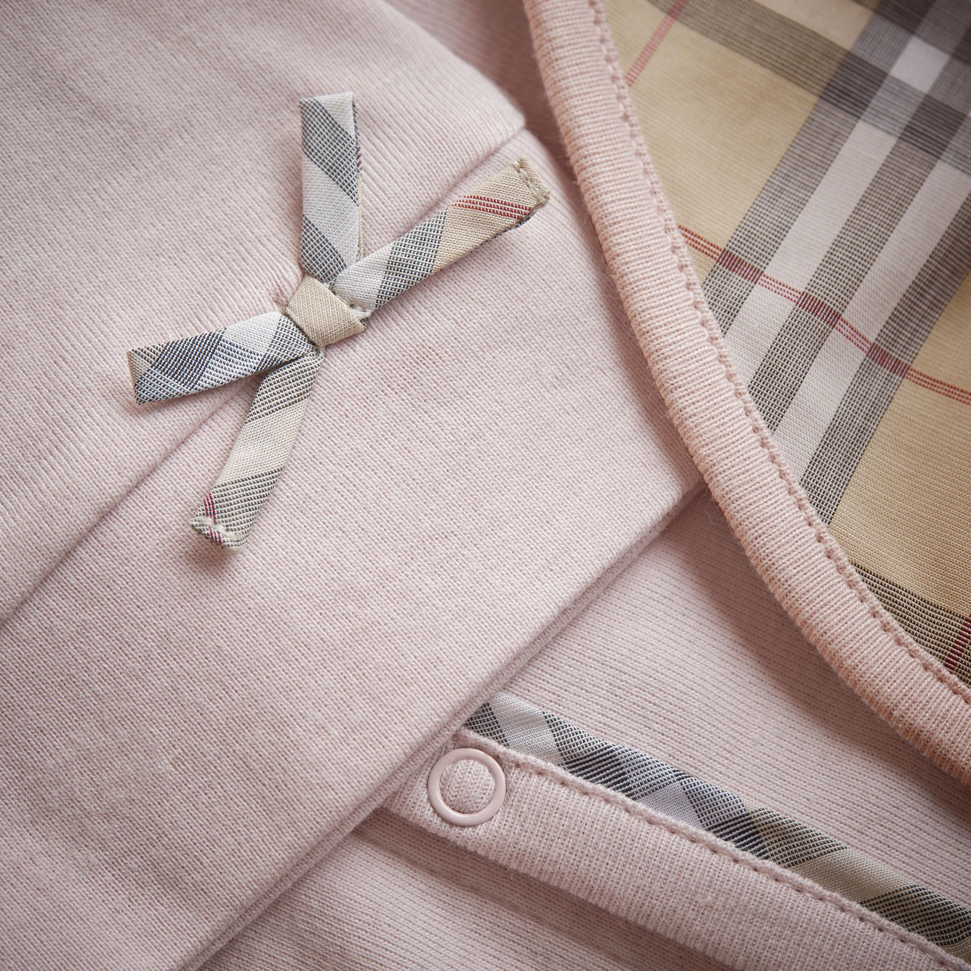 Cotton Three-piece Baby Gift Set in Powder Pink | Burberry Canada - gallery image 1