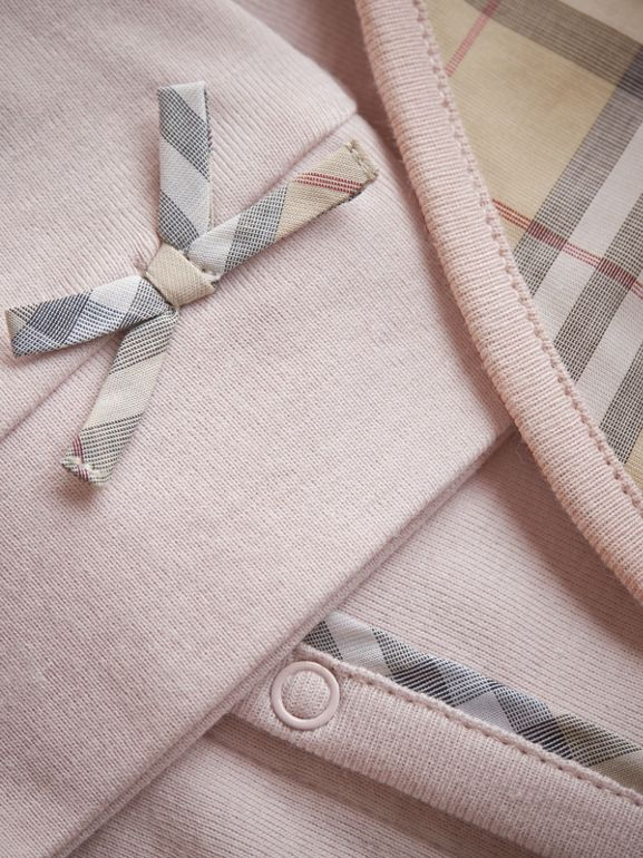 Cotton Three-piece Baby Gift Set in Powder Pink - Children | Burberry Australia - cell image 1