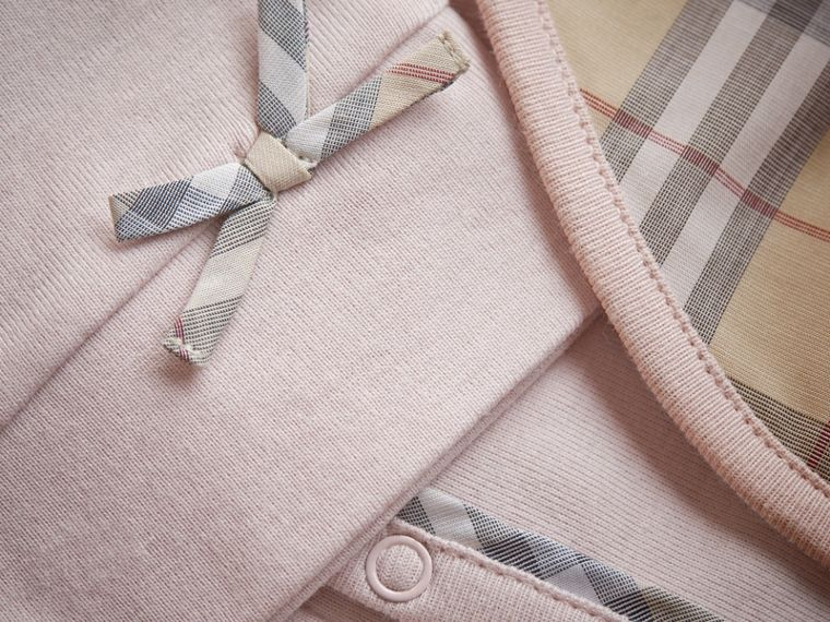 Cotton Three-piece Baby Gift Set in Powder Pink | Burberry - cell image 1