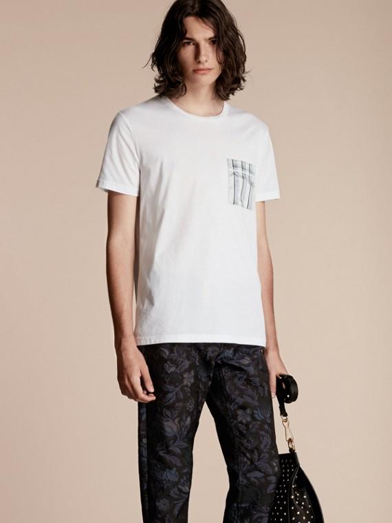 Cotton T-shirt with Pyjama Stripe Pocket
