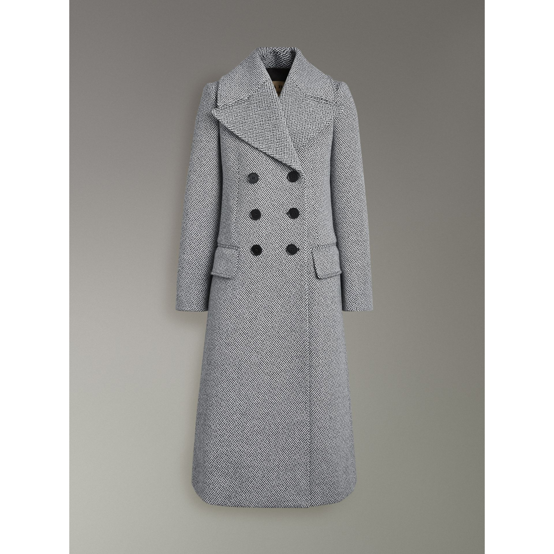 Herringbone Wool Blend Tailored Coat in Black/white - Women | Burberry - gallery image 3