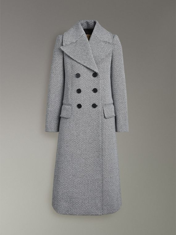 Herringbone Wool Blend Tailored Coat in Black/white - Women | Burberry United States - cell image 3
