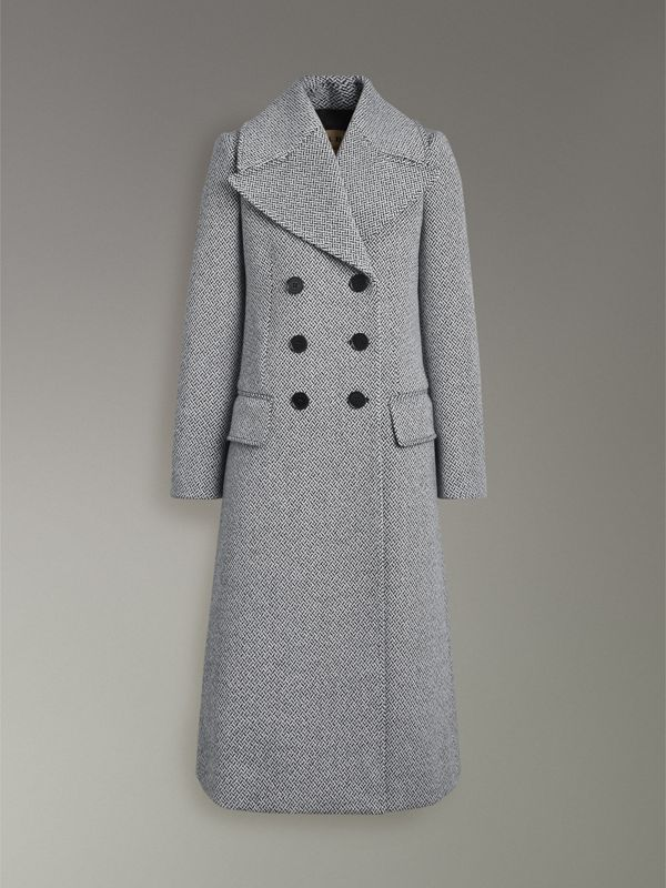 Herringbone Wool Blend Tailored Coat in Black/white - Women | Burberry - cell image 3