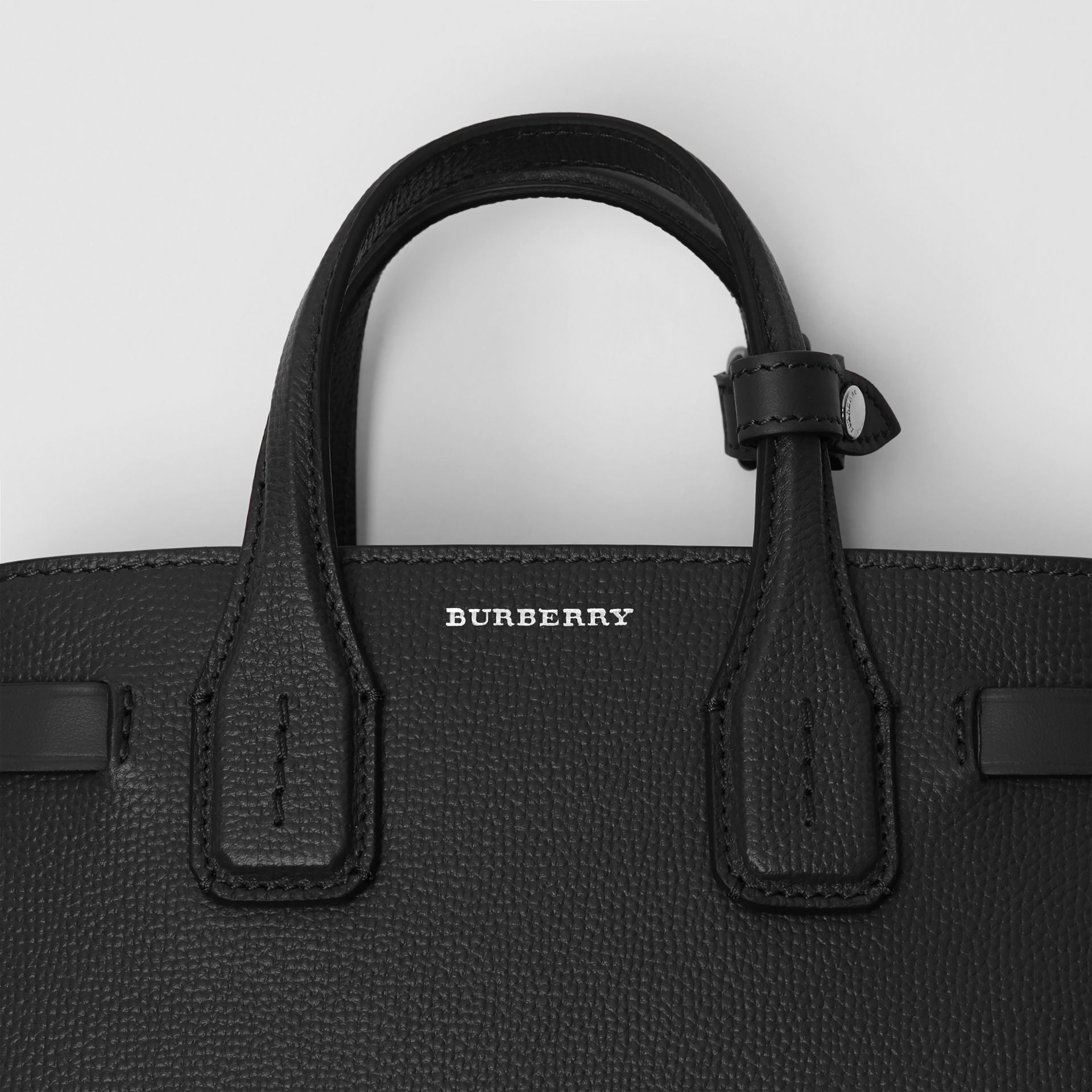 The Baby Banner in Leather and Vintage Check in Black - Women | Burberry Australia - gallery image 1