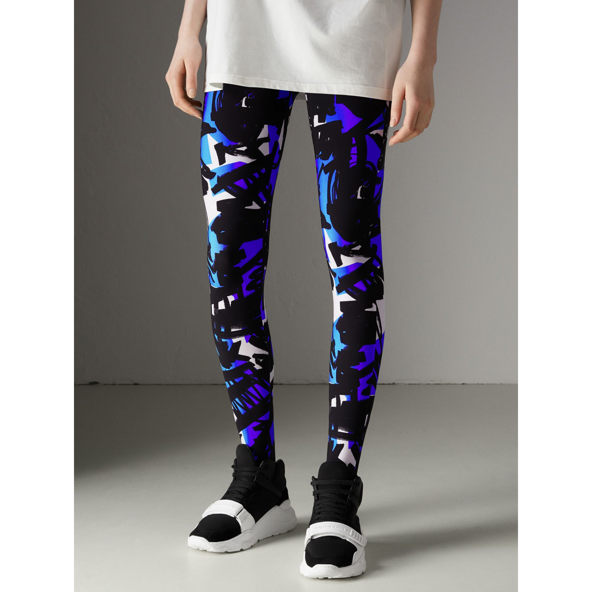 Graffiti Print Leggings in Brilliant Blue - Women | Burberry - gallery image 4