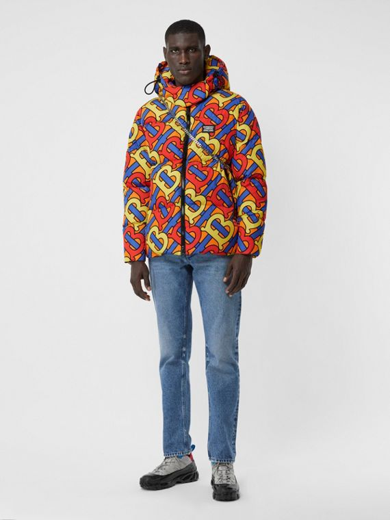 Monogram Print Puffer Jacket in Multicolour