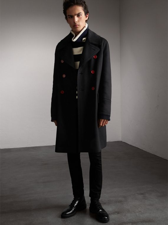 Resin Button Wool Greatcoat - Men | Burberry Singapore
