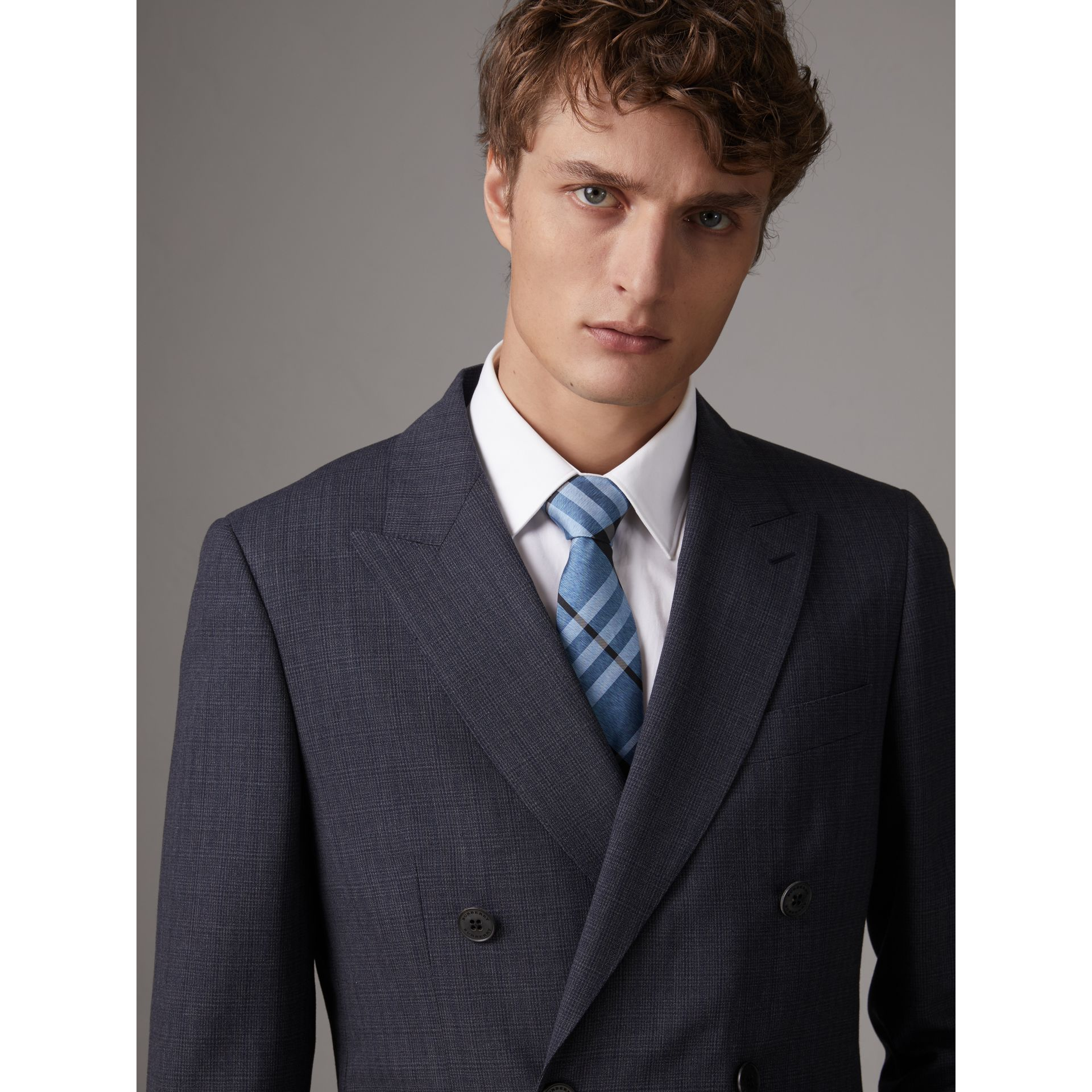 Modern Cut Check Silk Tie in Steel Blue - Men | Burberry United Kingdom - gallery image 3