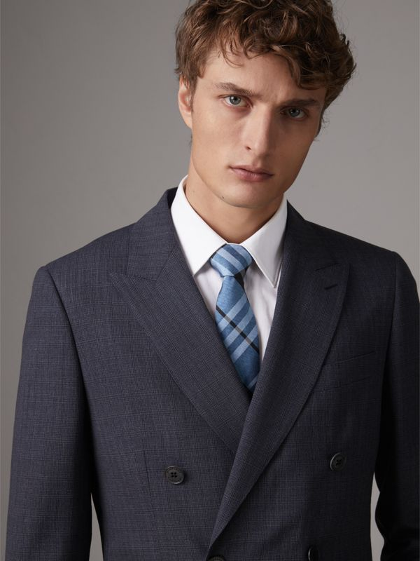 Modern Cut Check Silk Tie in Steel Blue - Men | Burberry - cell image 2