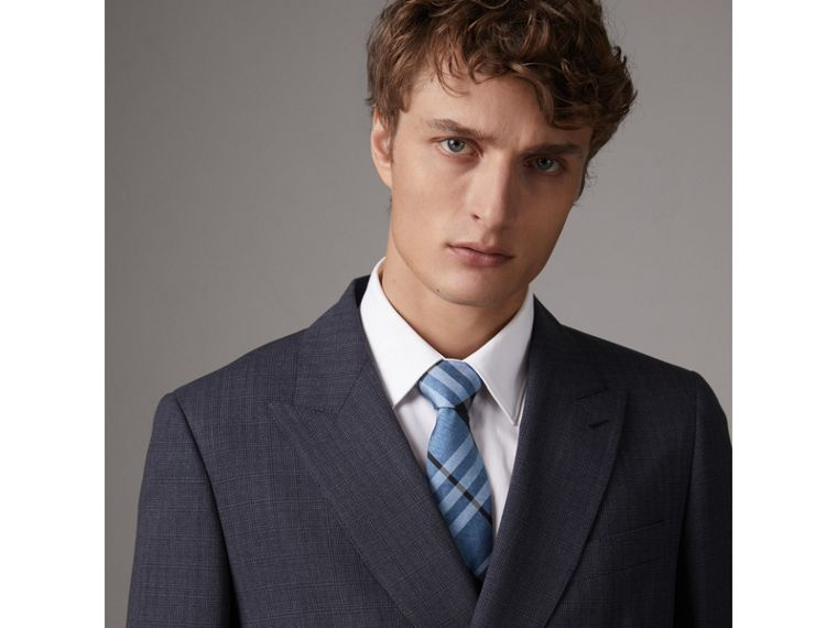 Modern Cut Check Silk Tie in Steel Blue - Men | Burberry United Kingdom - cell image 2