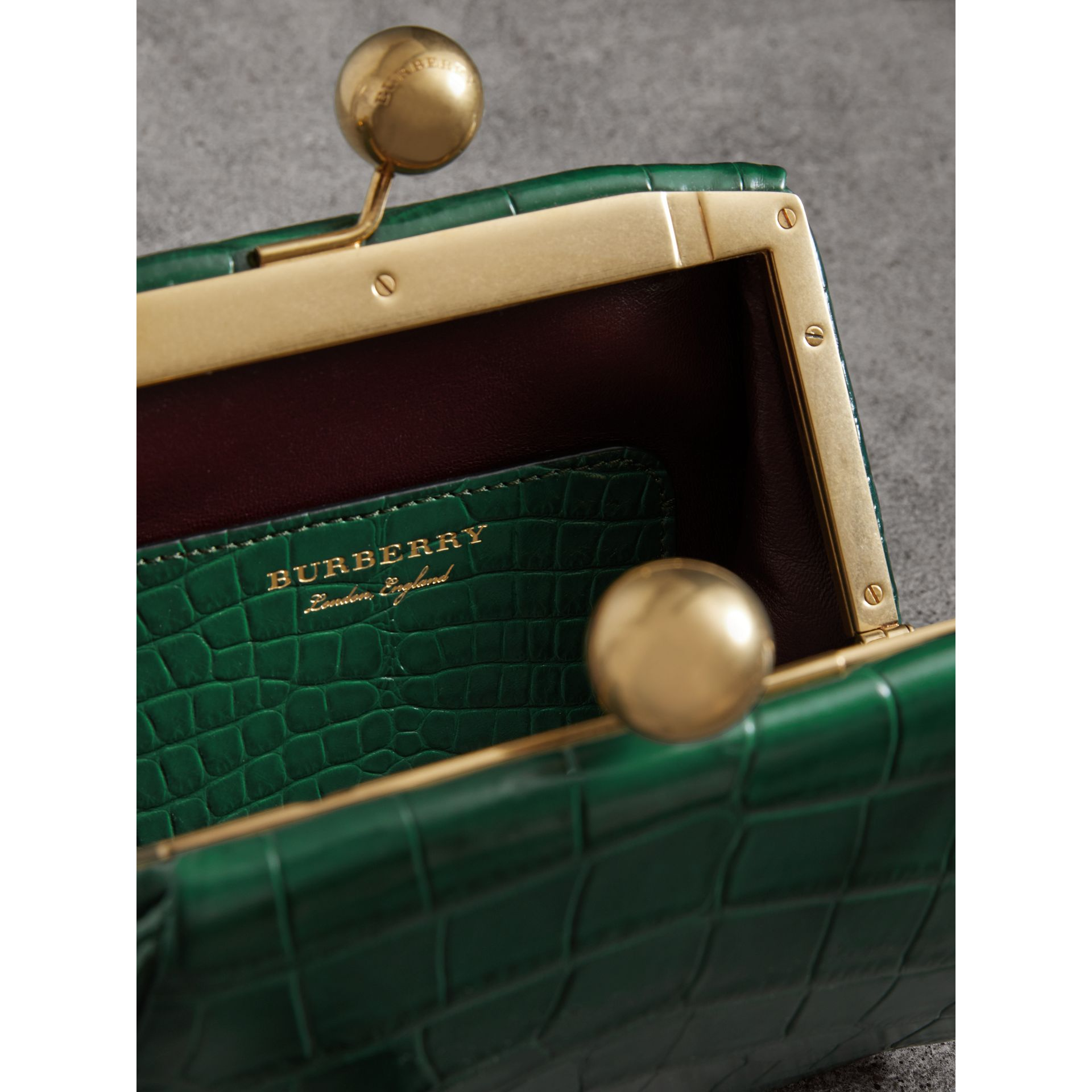 Small Alligator Metal Frame Clutch Bag in Dark Green - Women | Burberry - gallery image 5