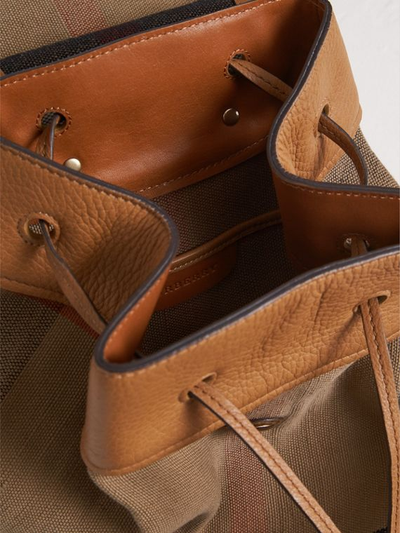 Canvas Check Backpack in Sand | Burberry - cell image 3