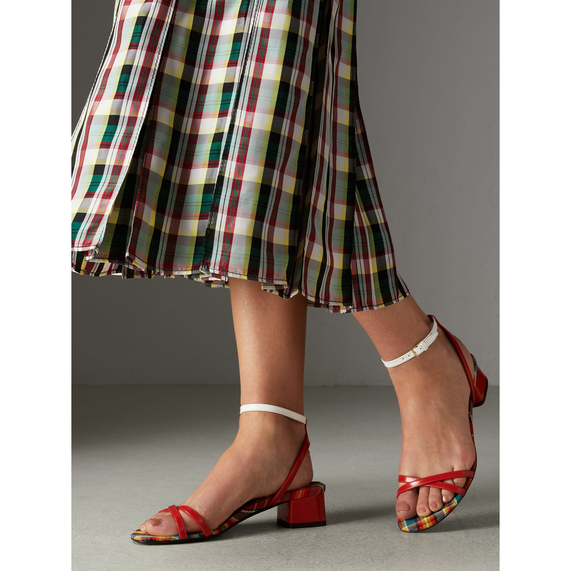 Tartan and Patent Leather Block-heel Sandals in Orange Red - Women | Burberry - gallery image 2