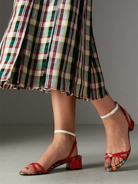 Tartan and Patent Leather Block-heel Sandals in Orange Red - Women | Burberry United Kingdom - cell image 2