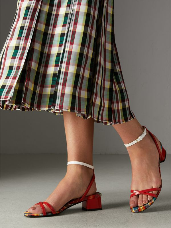 Tartan and Patent Leather Block-heel Sandals in Orange Red - Women | Burberry - cell image 2