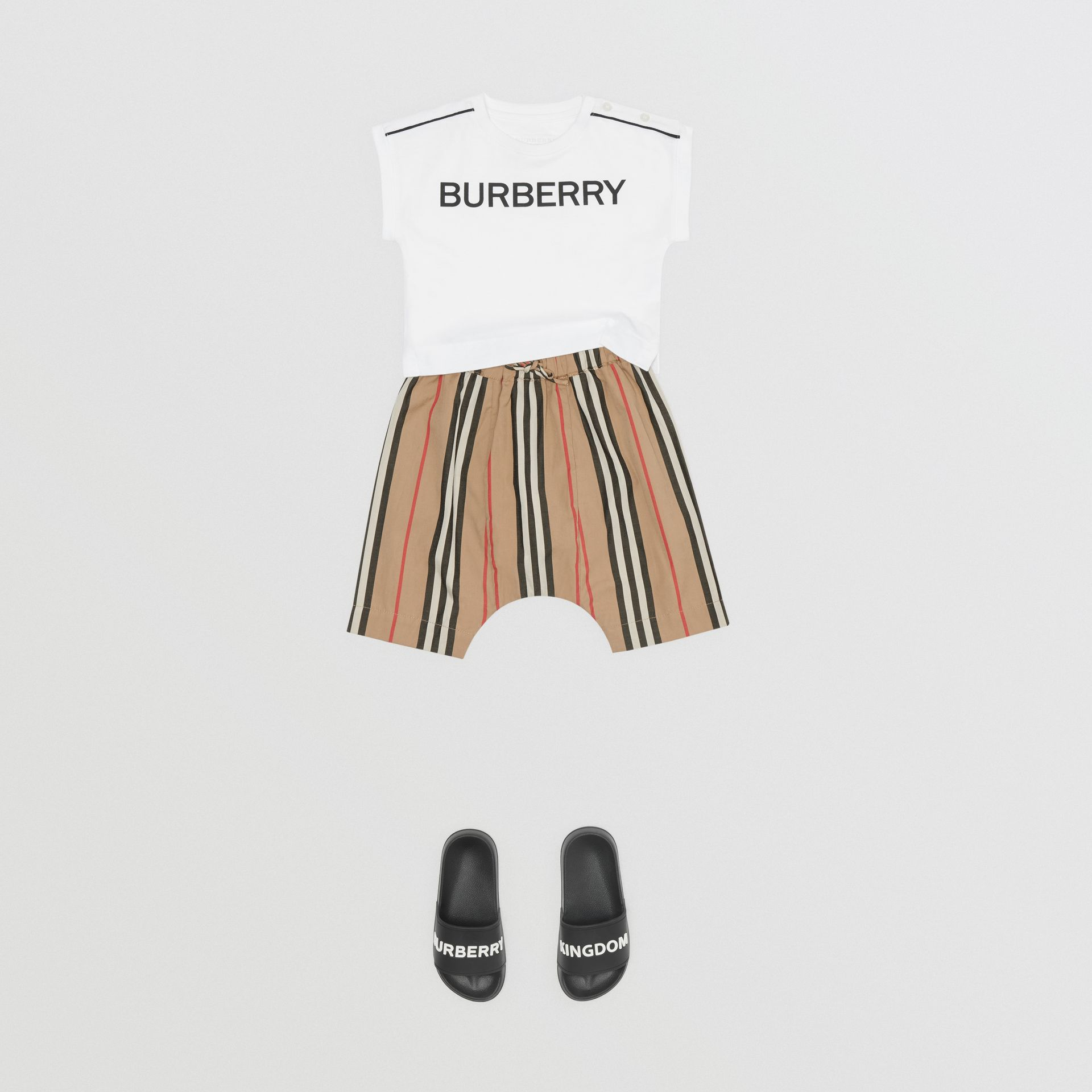Icon Stripe Cotton Poplin Trousers in Archive Beige - Children | Burberry - gallery image 2