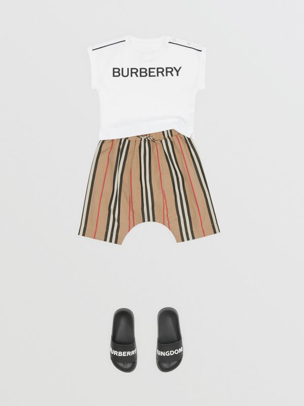 Icon Stripe Cotton Poplin Trousers in Archive Beige - Children | Burberry Singapore - cell image 2