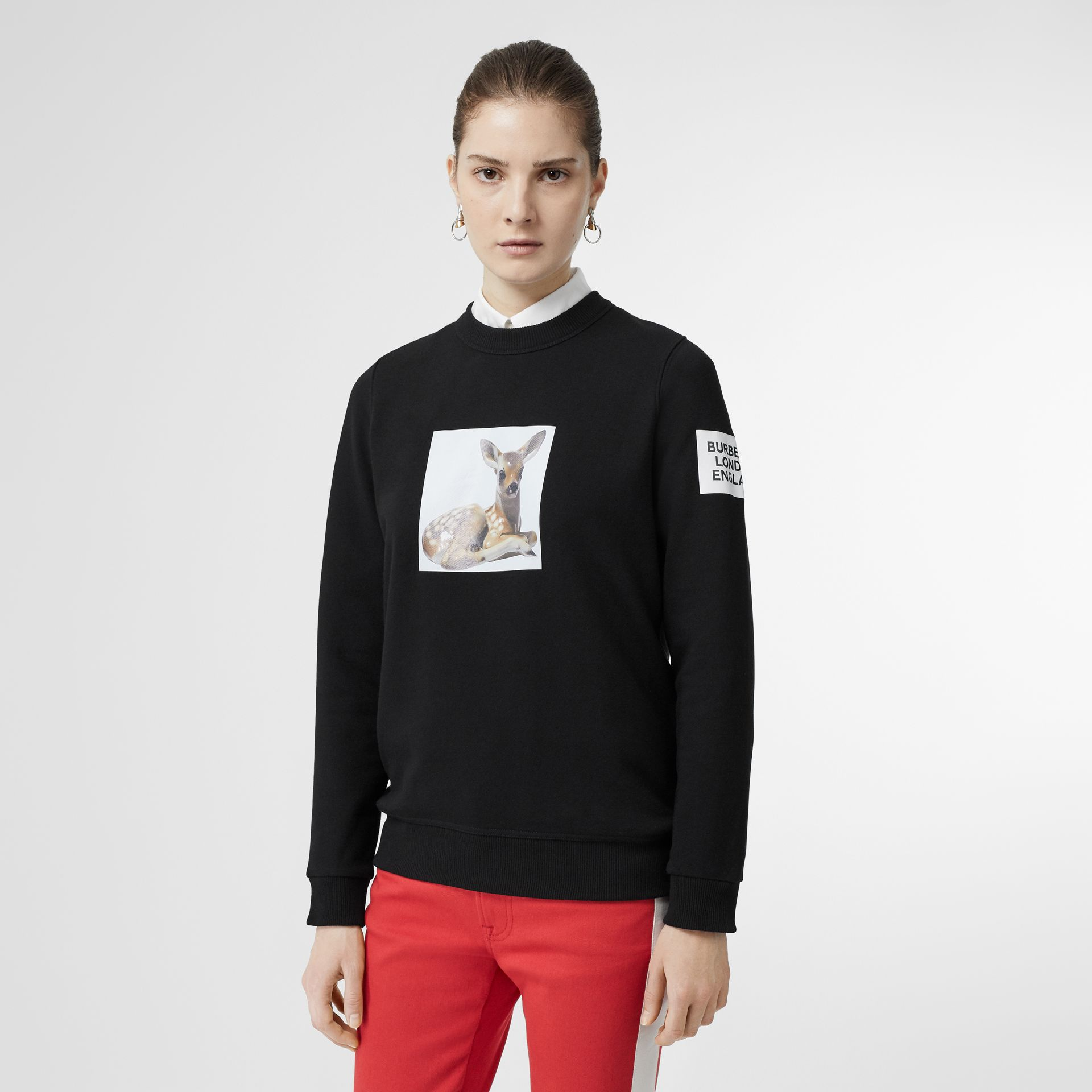 Deer Print Cotton Oversized Sweatshirt in Black - Women | Burberry - gallery image 5