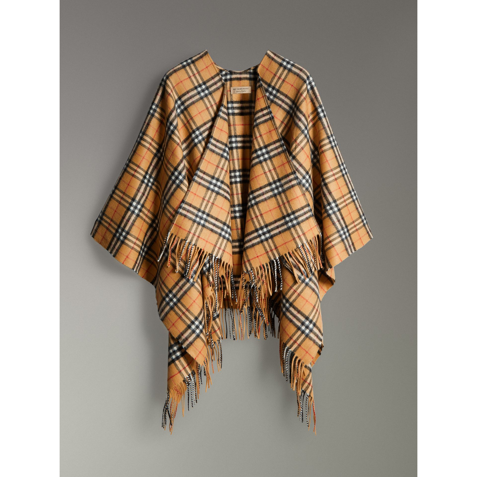 Vintage Check Cashmere Wool Poncho in Antique Yellow - Women | Burberry - gallery image 3