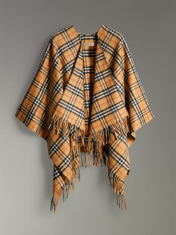 Vintage Check Cashmere Wool Poncho in Antique Yellow - Women | Burberry - cell image 3