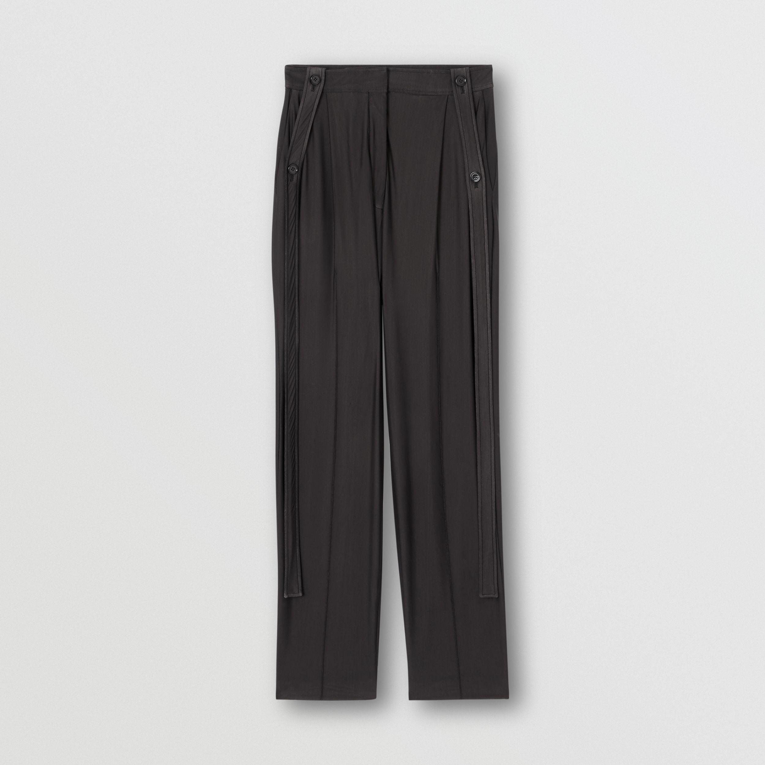 Strap Detail Chiffon and Jersey Tailored Trousers in Black - Women | Burberry - 4