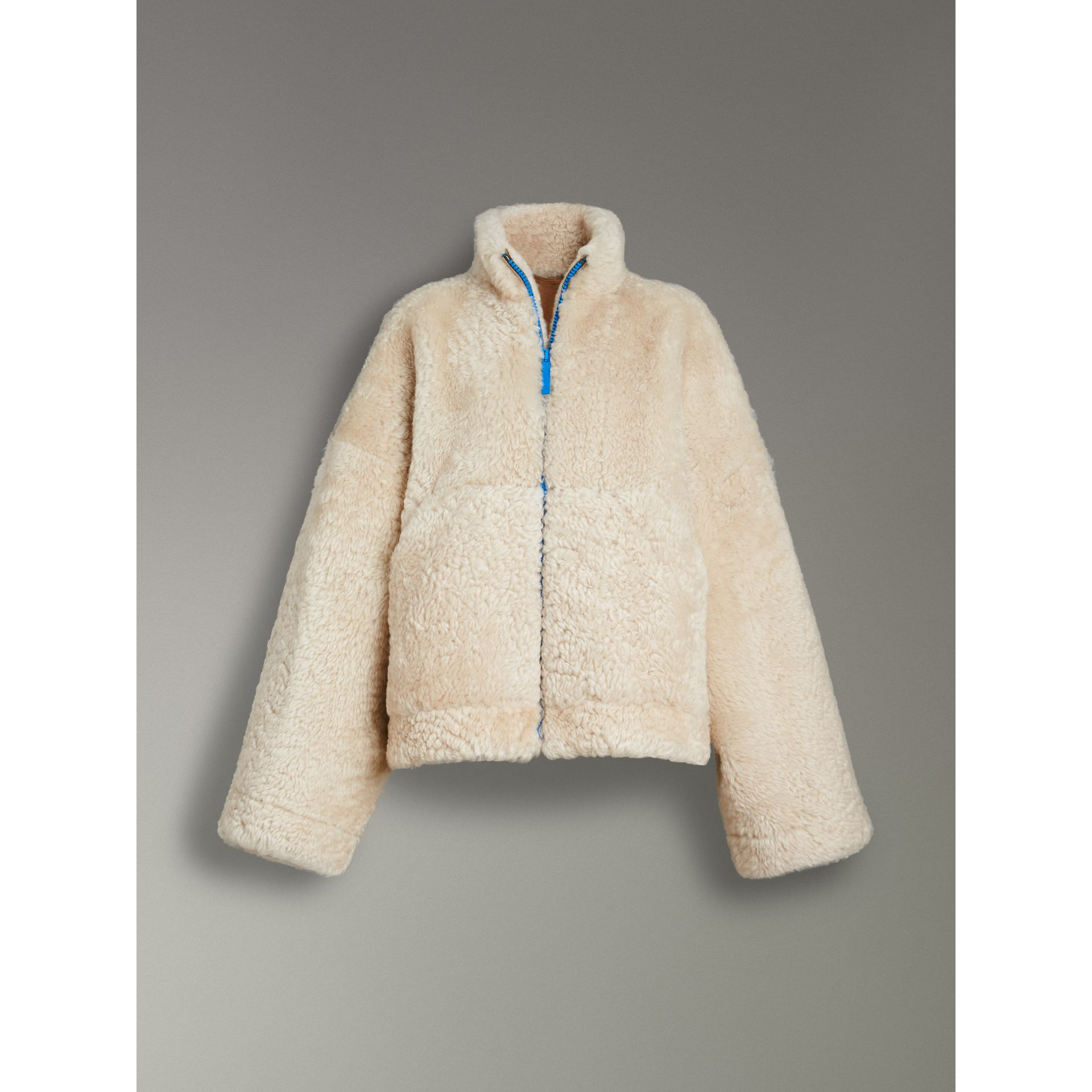 Contrast Zip Shearling Funnel-neck Jacket in Natural White - Women | Burberry Canada - gallery image 3