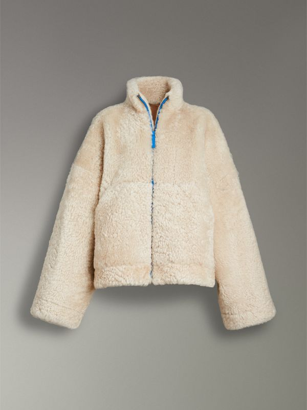 Contrast Zip Shearling Funnel-neck Jacket in Natural White - Women | Burberry Canada - cell image 3