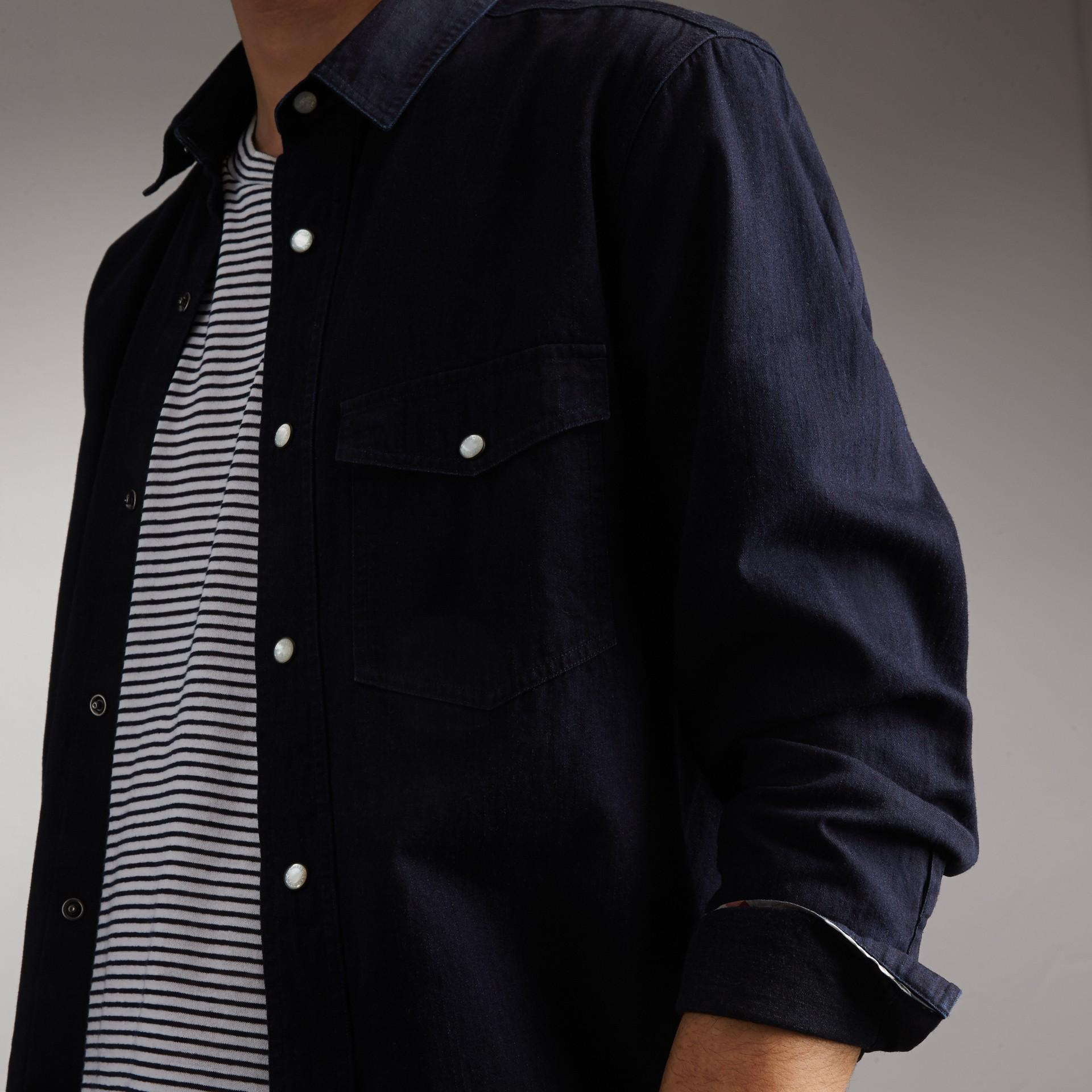 Japanese Denim Shirt in Indigo - Men | Burberry United States - gallery image 1