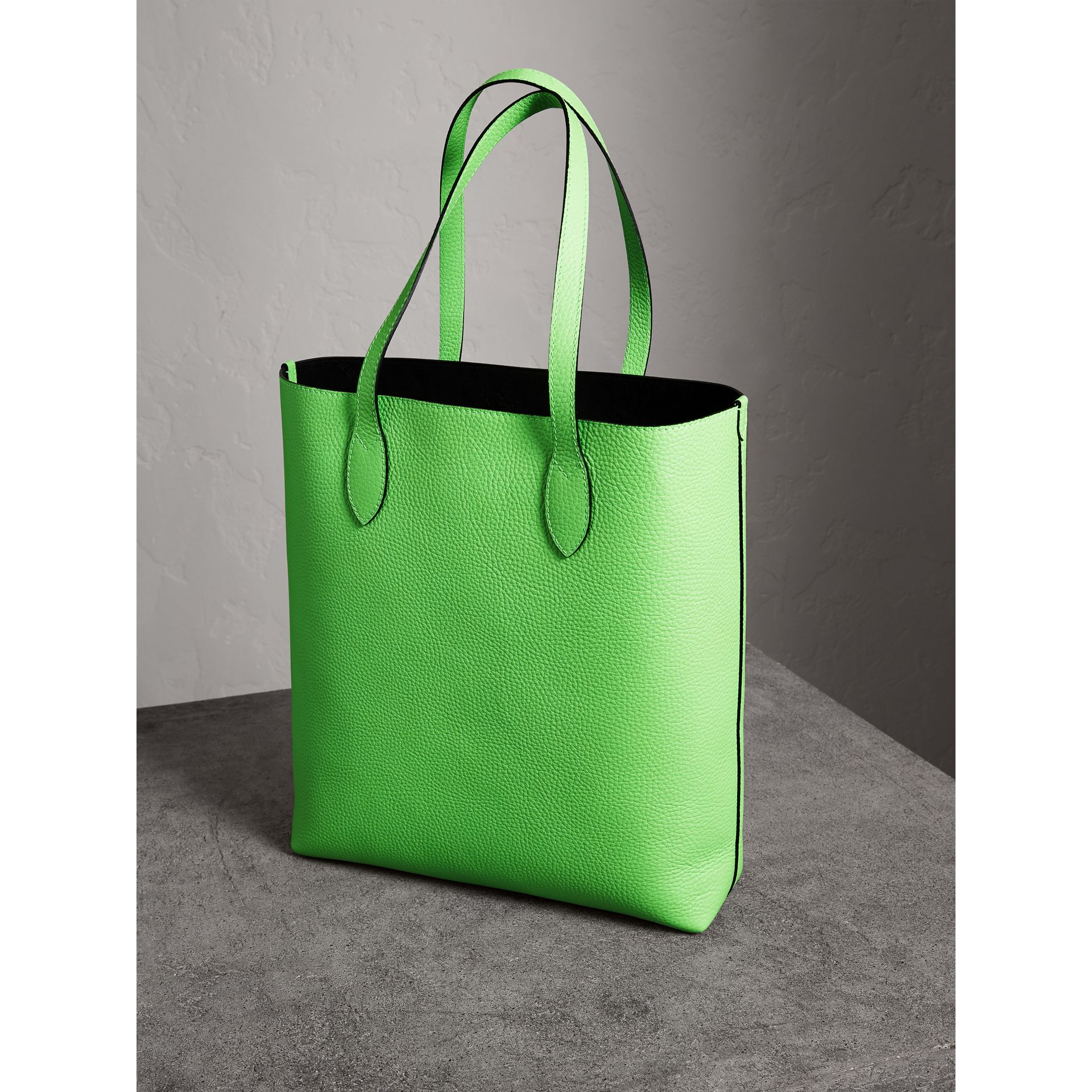 Embossed Leather Tote in Neon Green | Burberry Australia - gallery image 4