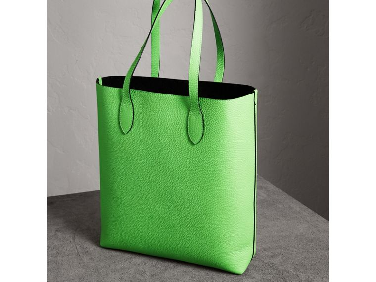 Embossed Leather Tote in Neon Green | Burberry Australia - cell image 4