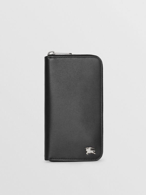 London Leather Ziparound Wallet in Black - Men | Burberry Australia - cell image 2