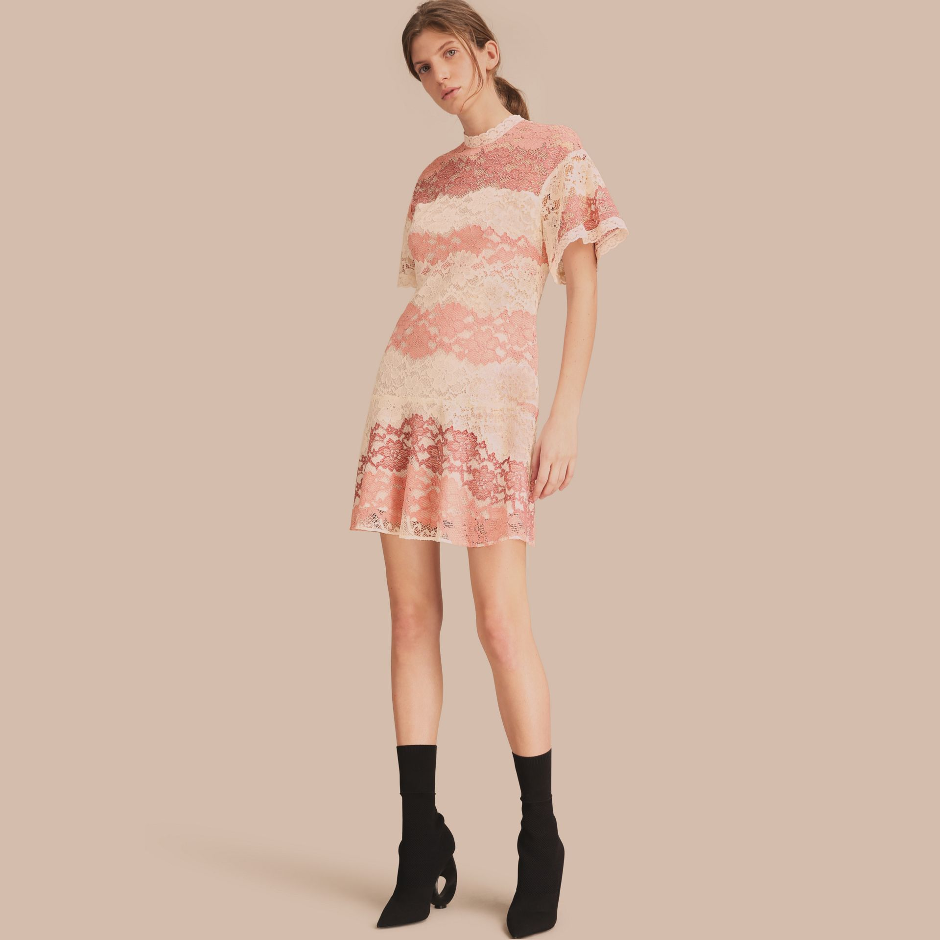 Floral Lace Dress with Flutter Sleeves Dusty Pink - gallery image 1