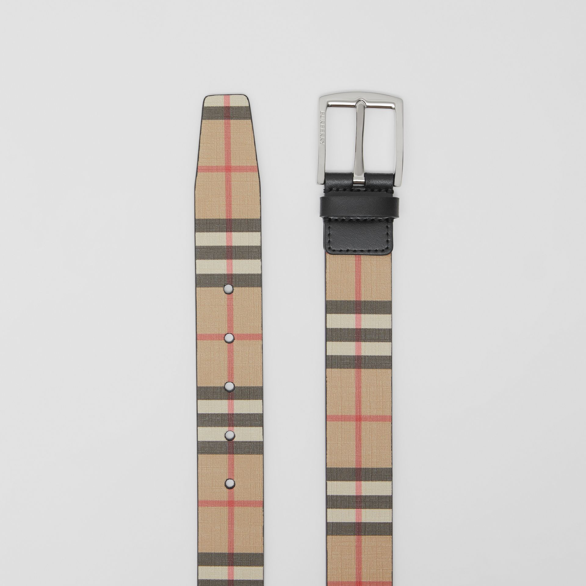 Vintage Check E-canvas and Leather Belt in Archive Beige - Men | Burberry Canada - gallery image 5