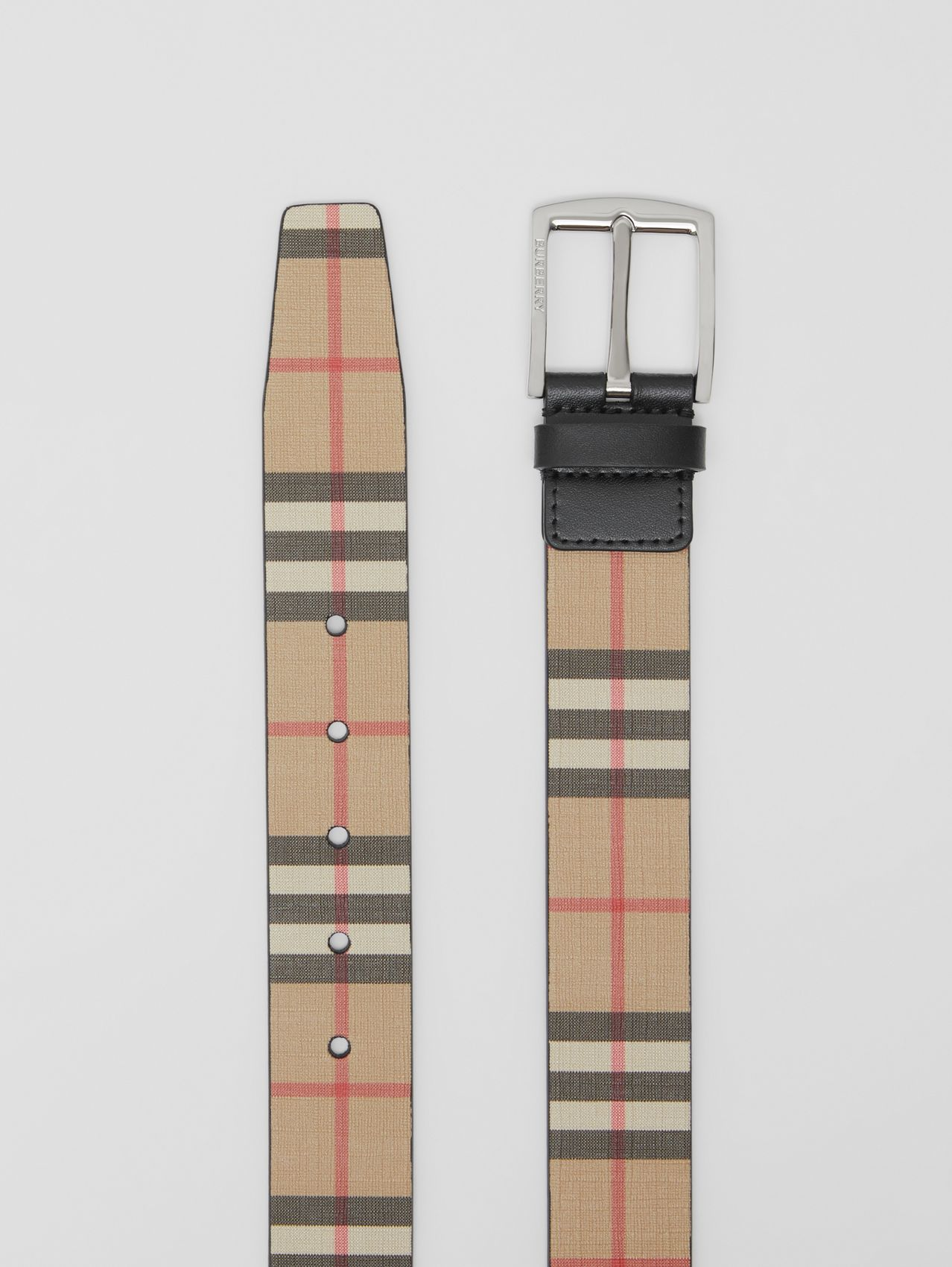 Vintage Check E-canvas and Leather Belt in Archive Beige