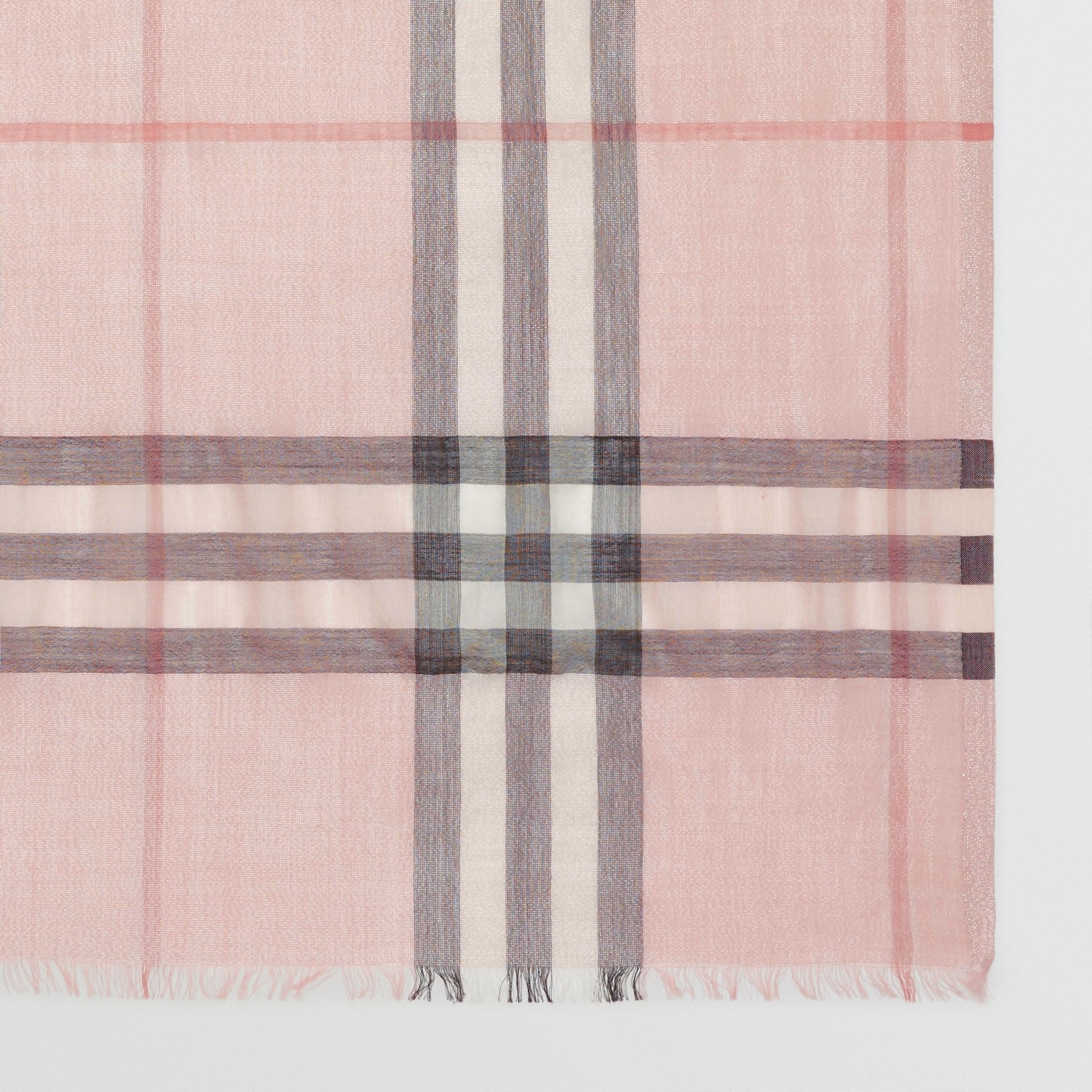 Metallic Check Silk and Wool Scarf in Ash Rose/silver | Burberry Australia - gallery image 1