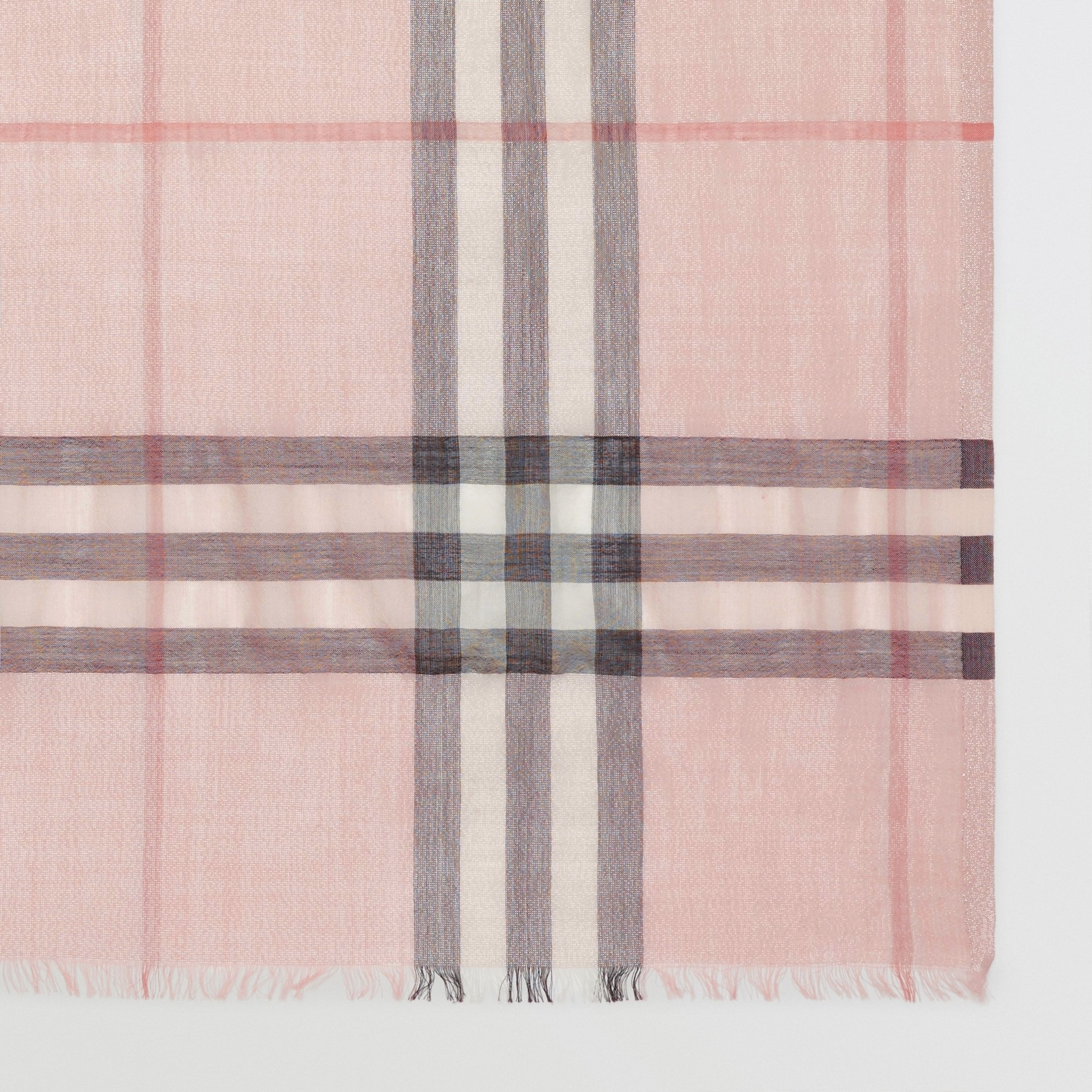 Metallic Check Silk and Wool Scarf in Ash Rose/silver | Burberry - 2