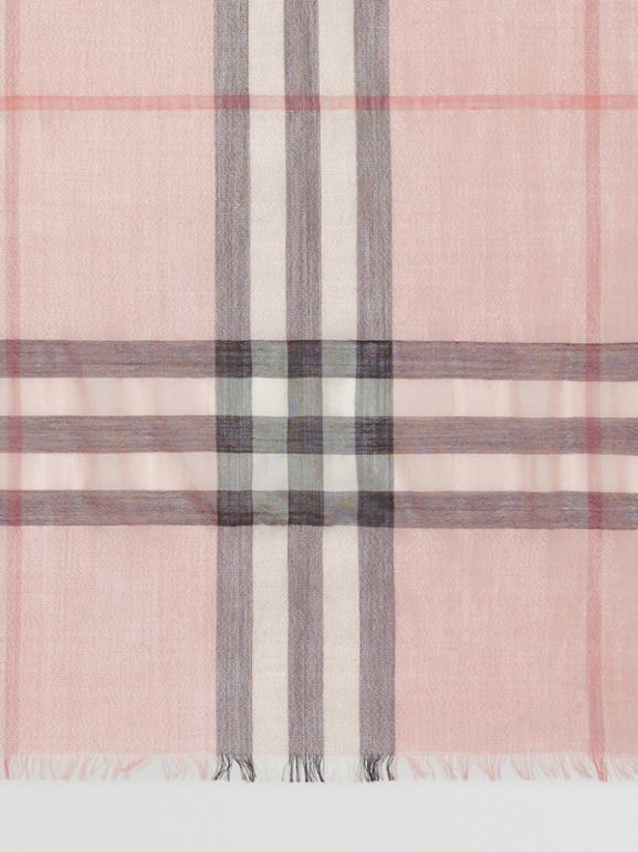 Metallic Check Silk and Wool Scarf in Ash Rose/silver | Burberry Australia - cell image 1