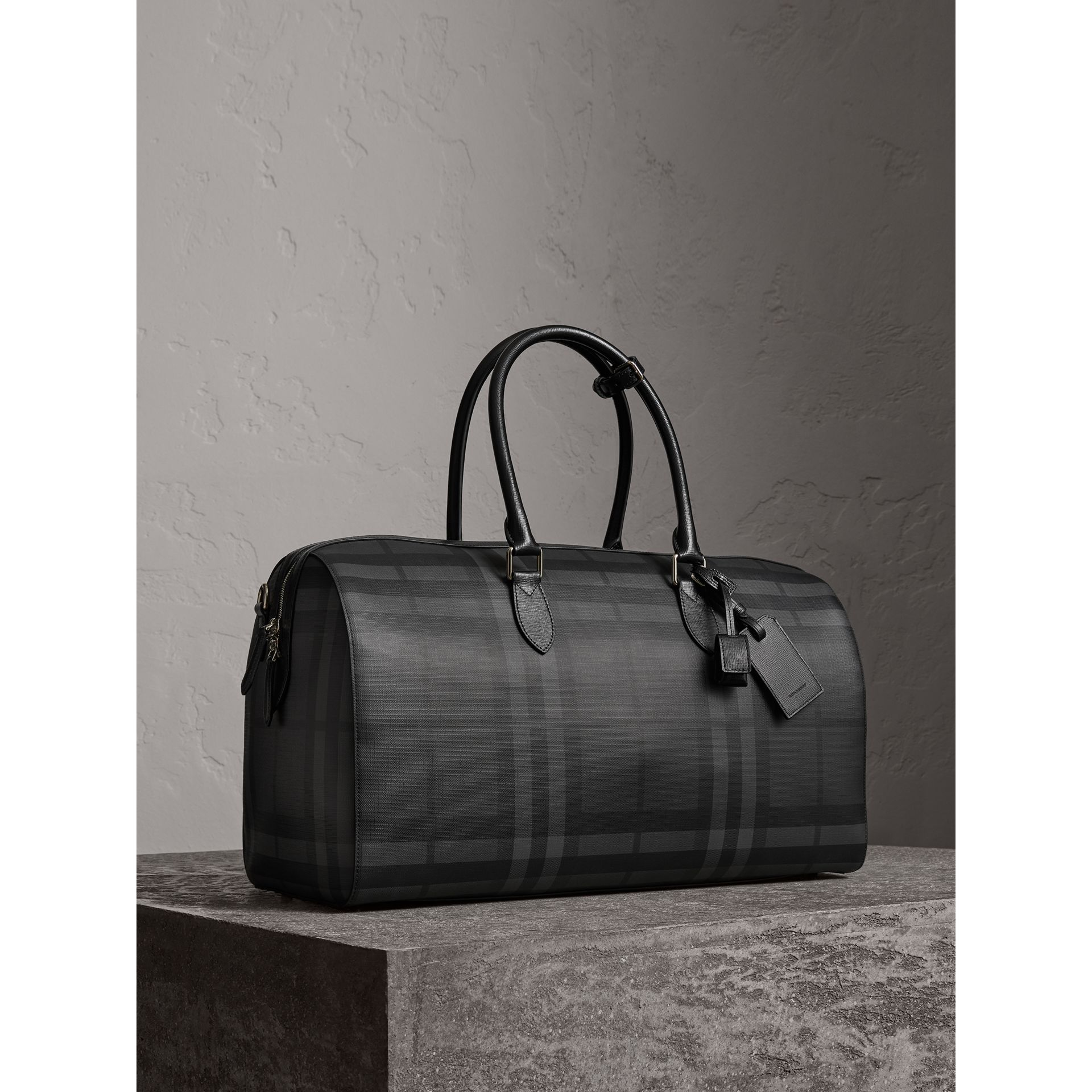 Leather Trim London Check Holdall in Charcoal/black - Men | Burberry United Kingdom - gallery image 6