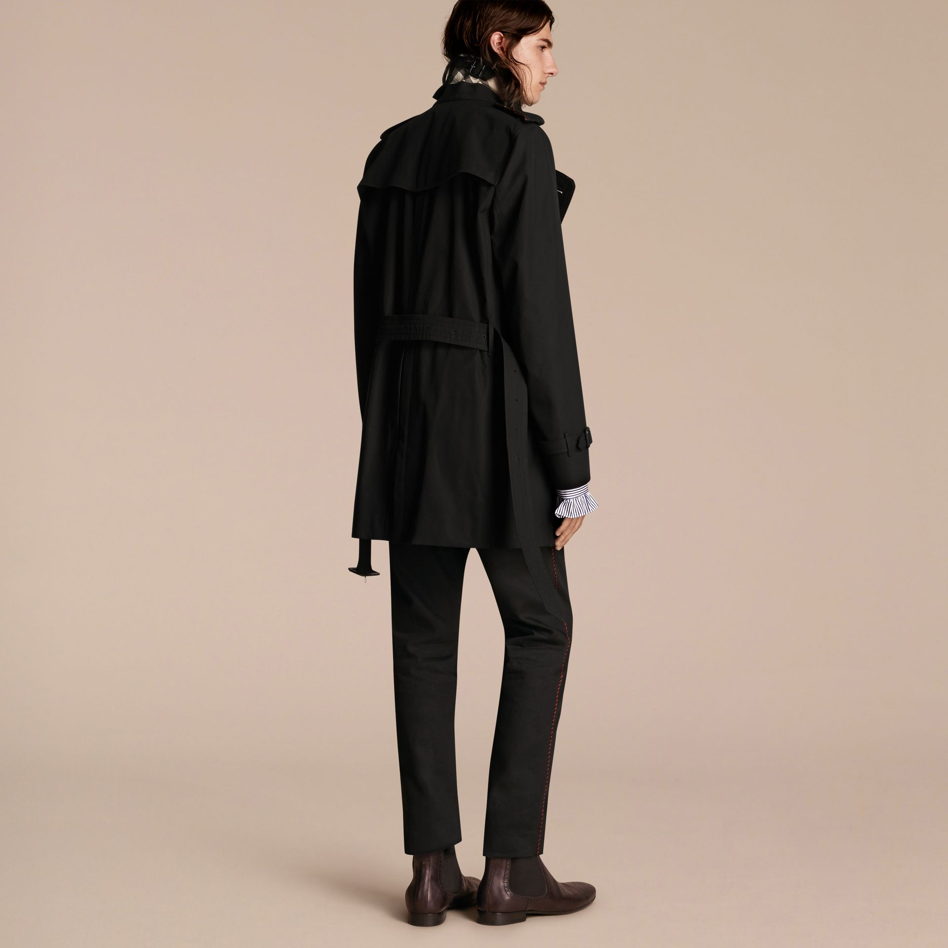 Black Trench Coat with Regimental Piping Black - gallery image 2