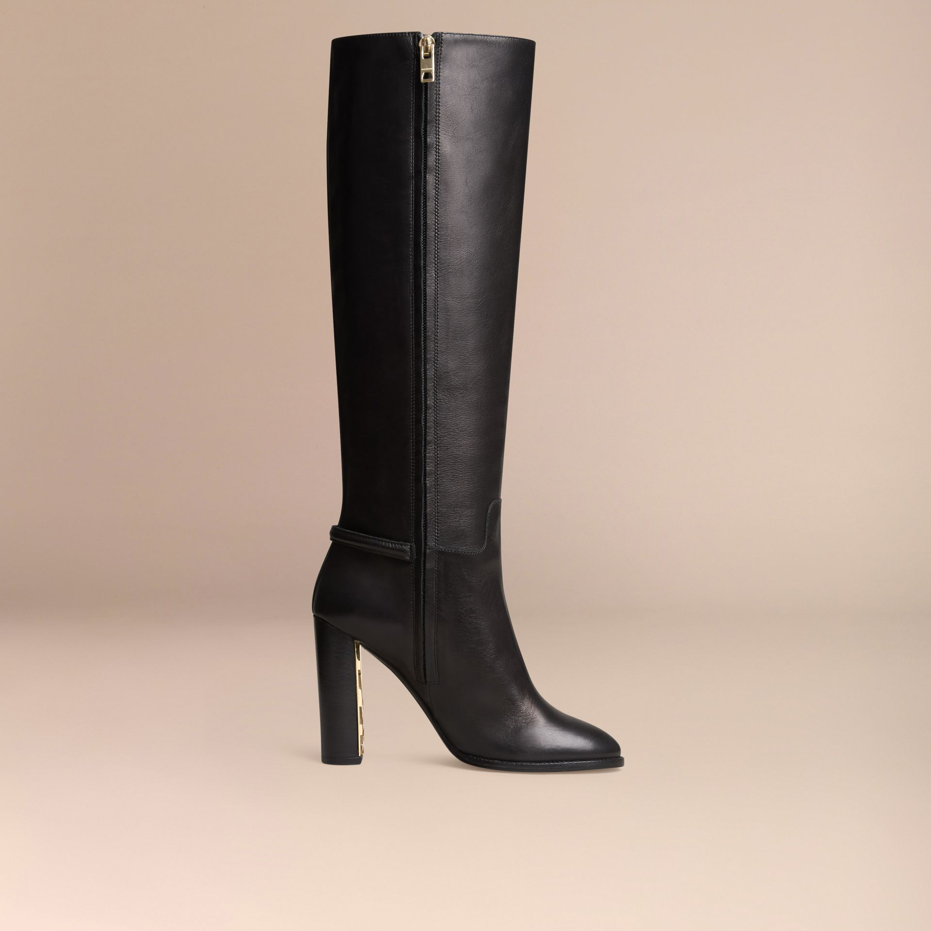 Black Knee-high Leather Boots - gallery image 3