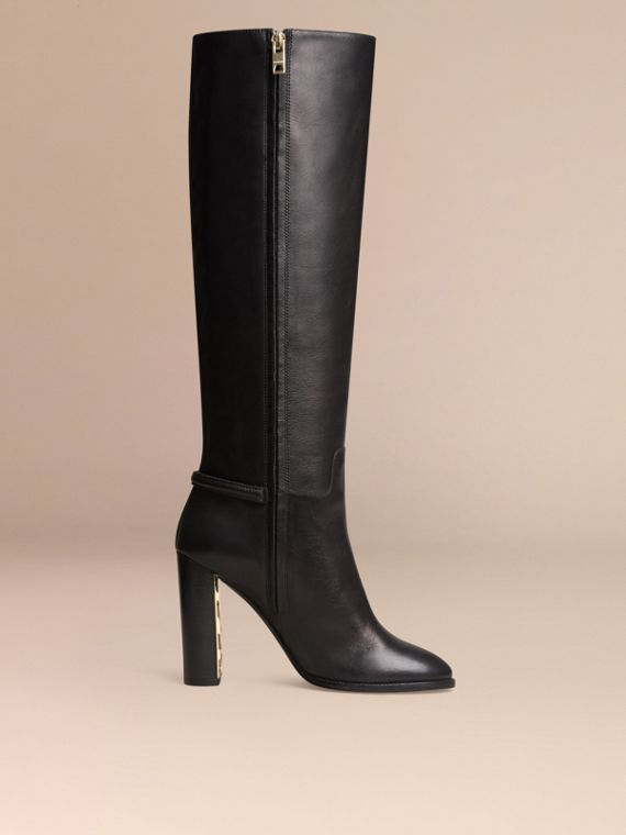 Black Knee-high Leather Boots - cell image 2