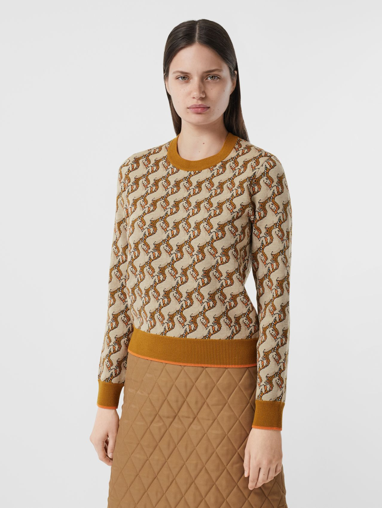 Unicorn Merino Wool Blend Jacquard Sweater in Ecru
